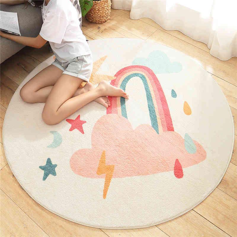 Cartoon Round Lamb Cashmere Home Living Room Non-Slip Carpet Sofa Bedroom Tatami Bedside Blanket Rugs
