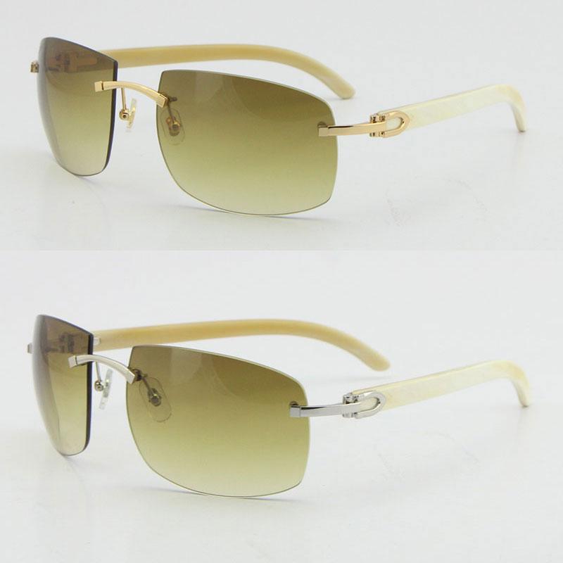 Großhandel Größere 4189705 Sonnenbrille Randloser schwarzes original echtes natürliches büffelhorn sonnenbrille uv400 objektiv männlich und weibliche mode eyewear box