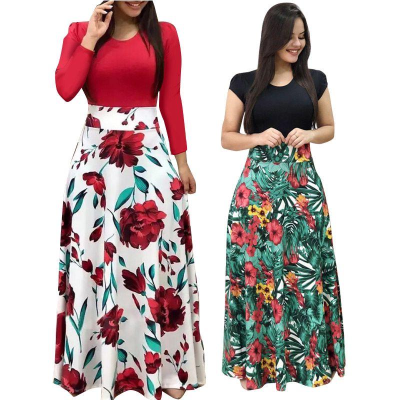 Горячие продажи плюс размер женщин осеннее платье лоскутное винтажное цветочные длинные платья повседневные условные вырезы с длинным рукавом Boho вечеринка 210305