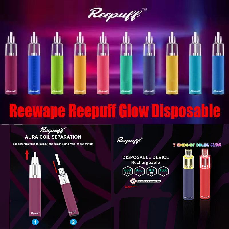 원래 Reewape ReePuff Glow 일회용 장치 키트 1500 퍼프 충전식 650mAh 배터리 미리 페로 5ml 포드 vape 스틱 펜 100 % 정통