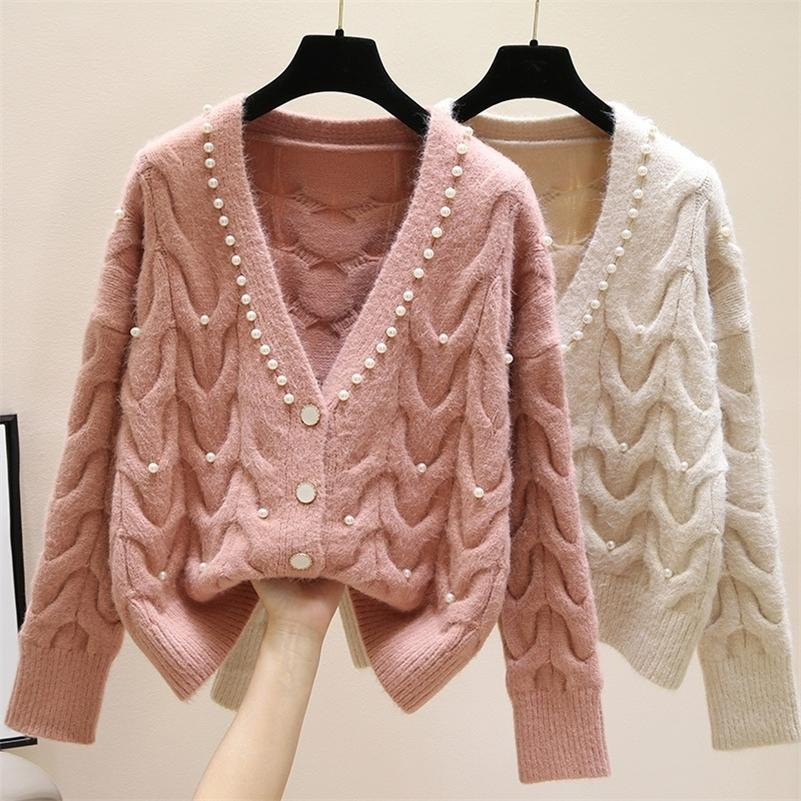 Sweet Beaded V-Neck Cardigan Cardigan Donne Primavera New Fashion All-Match Tryitted Wear Sweater LJ201112