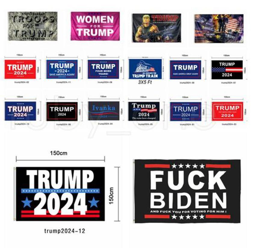 18Styles Trump Flag 2024 Elezione Bandiera Banner Banner Prendere America Indietro Indietro Ivanka Trump Bandiere Tenere America Grandi Banner 90 * 150 cm 300pcs GGA3855
