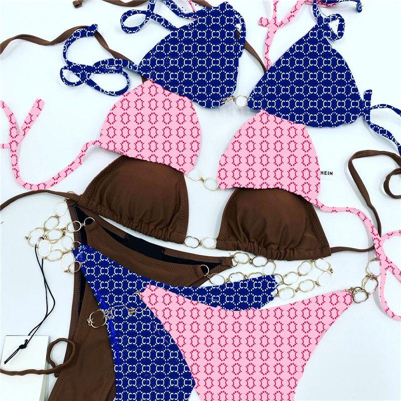 Set sexy Bikini Set Catena Designer Designer Costumi da bagno Donne Estate Swimwear Sexy Swimwears Abiti da balneazione ad alta vita