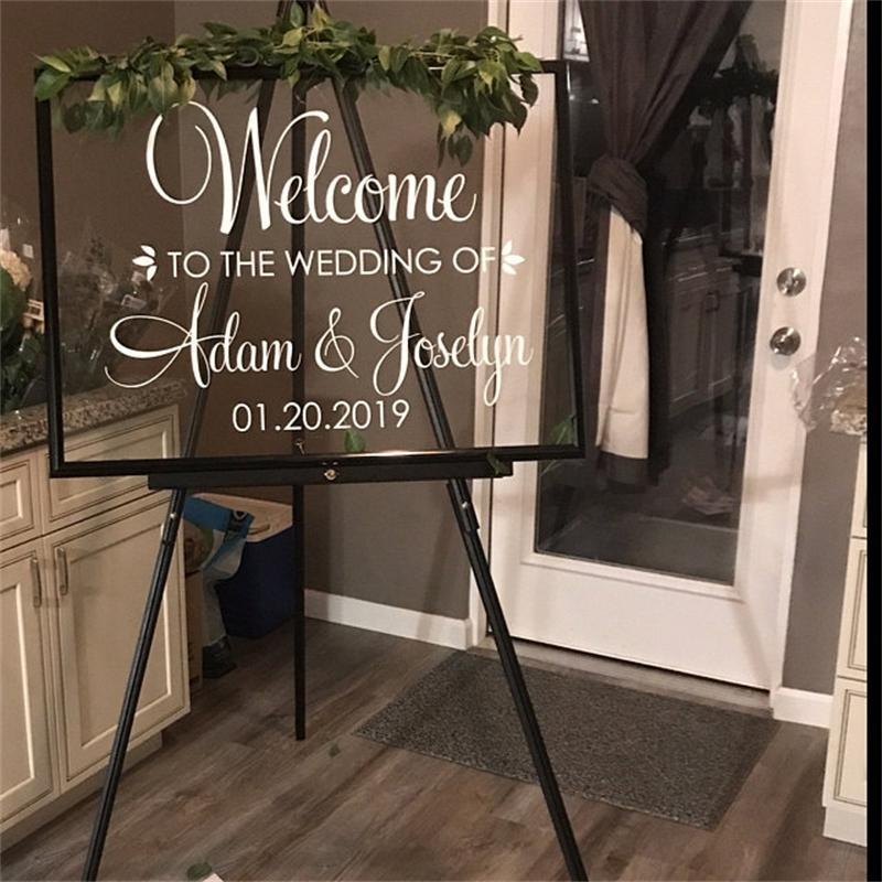Stickers de bienvenida Nombres personalizados Fechas de la calcomanía de vinilo Letras DIY Letras elegante Cartel de boda Decoración J214 210310