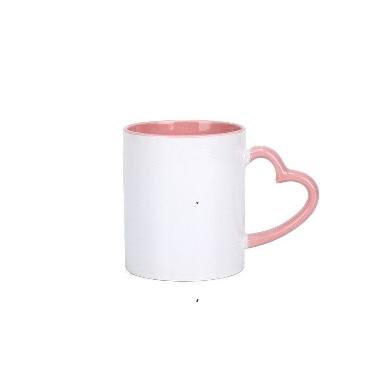 Чистые сублимации 11 унций керамическая кружка с сердцем сердца 320 мл белые керамические чашки красочные внутренние покрытия Специальная бутылка для воды Кофейная чашка BEF4977