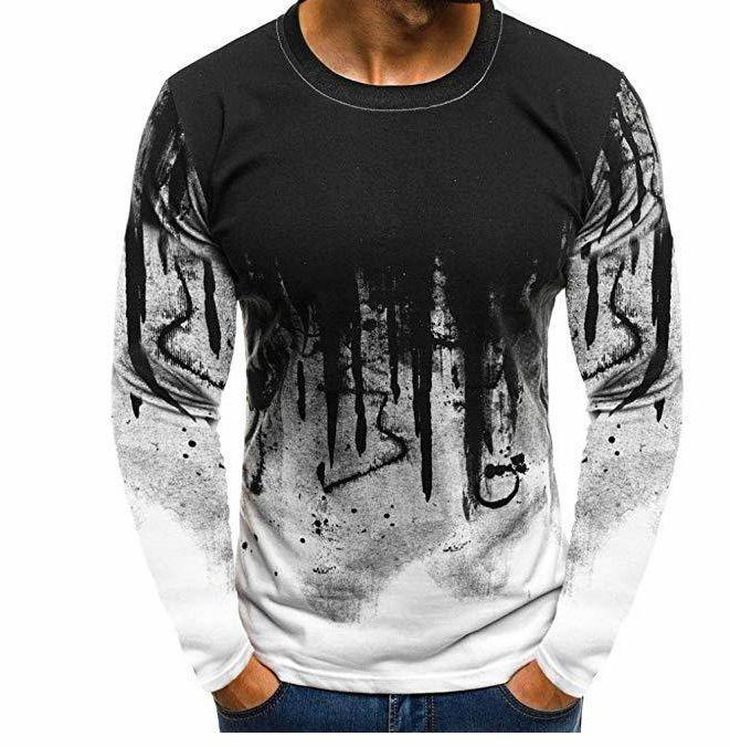 Herren T-Shirt Gradient 3D Drucked T-Shirt Neue Herren Langarm Rundhals-T-Shirt