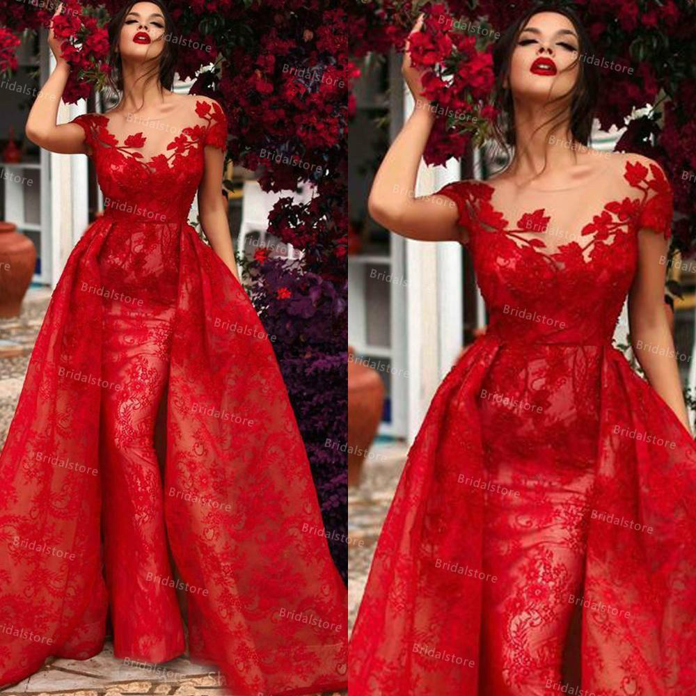 Vintage Red Overskirt Mermaid Prom Dresses 2021 With Short Sleeve Dubai Arabic Lace Evening Dress Women Party Wear Muslim Formal Party Dress