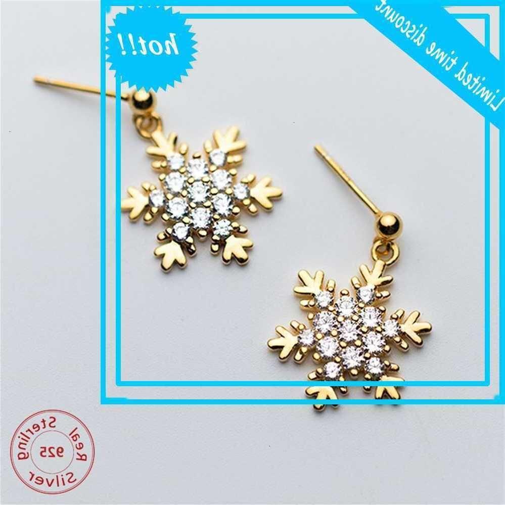 Mode 925 Sterling Sterling Crystal Snowflake Drop Couleur Gold Couleur Fine Bijoux Pendentif Boucles d'oreilles
