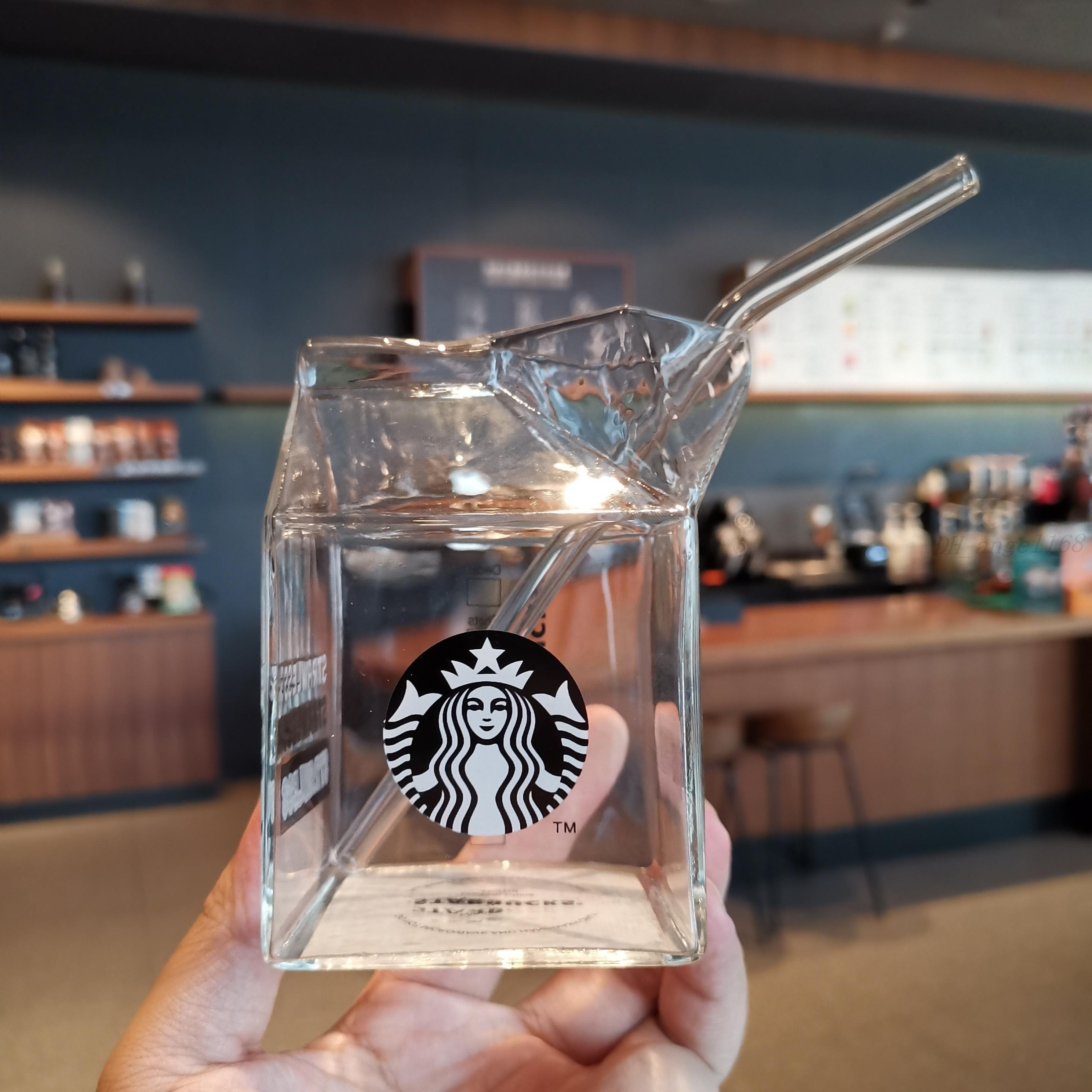 NUOVO ULTIMO 13.5OZ Luminoso Starbucks Starbucks Glass Bicchiere Trasparente Scatola di latte Apertura con cannuccette da bevanda fredda Succo Tazza di caffè Coppa da caffè 24 once doppio strato tazze di plastica