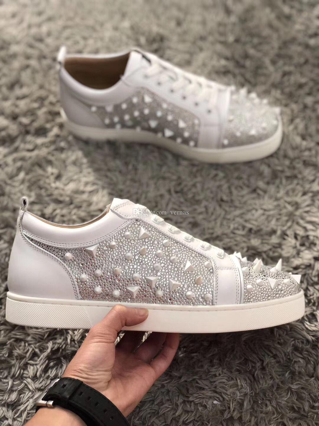 2021Hot Sale Red Bottom Low Cut Spikes Flats Shoes For Men Women Leather Sneakers Casual Shoes With Box Dust Bag EU35-46