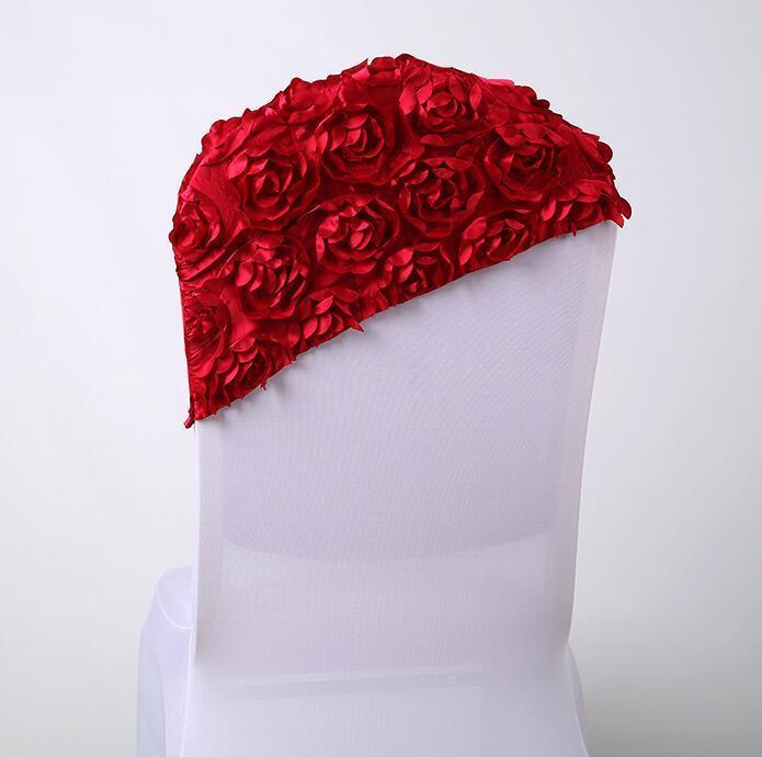 Stuhlabdeckungen Ankunft Elegante Rose Blume Cover Cap für Hochzeitsdekoration