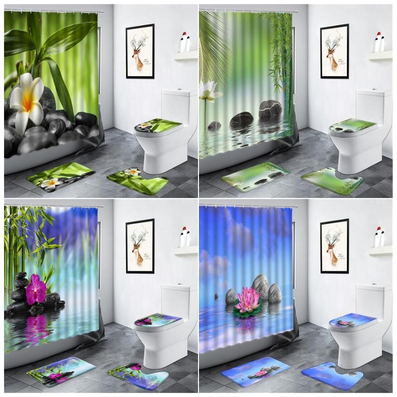 Duschvorhänge Zen Gartenlandschaft Wasser Grün Bambus Schwarz Stein Lotos Landschaftsbadezimmer Teppich Toilette Rutschfeste Badematten Sets