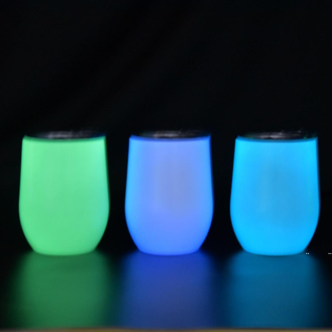 NEU! 12Oz Sublimation Leuchtende Eierbecher, die in der dunklen Edelstahl-Wasser-Wasserflaschen glühen Kaffeetassen doppelt isoliertes Meeresweg FWF5431