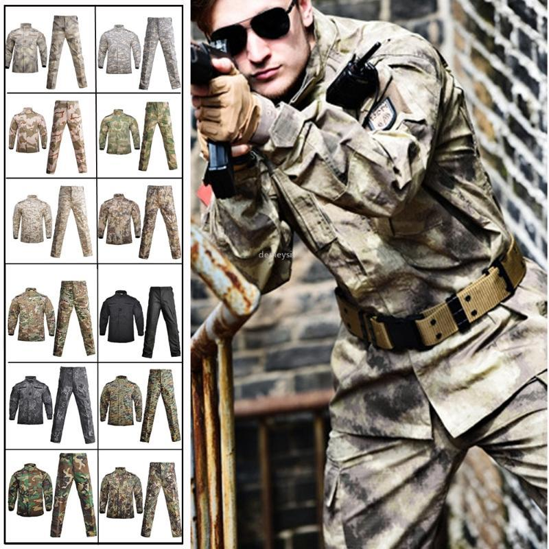 Men's Tactical Uniform Hunting Combat BDU Camouflage Uniform Jacket + Pants Set for Paintball Shooting War Game