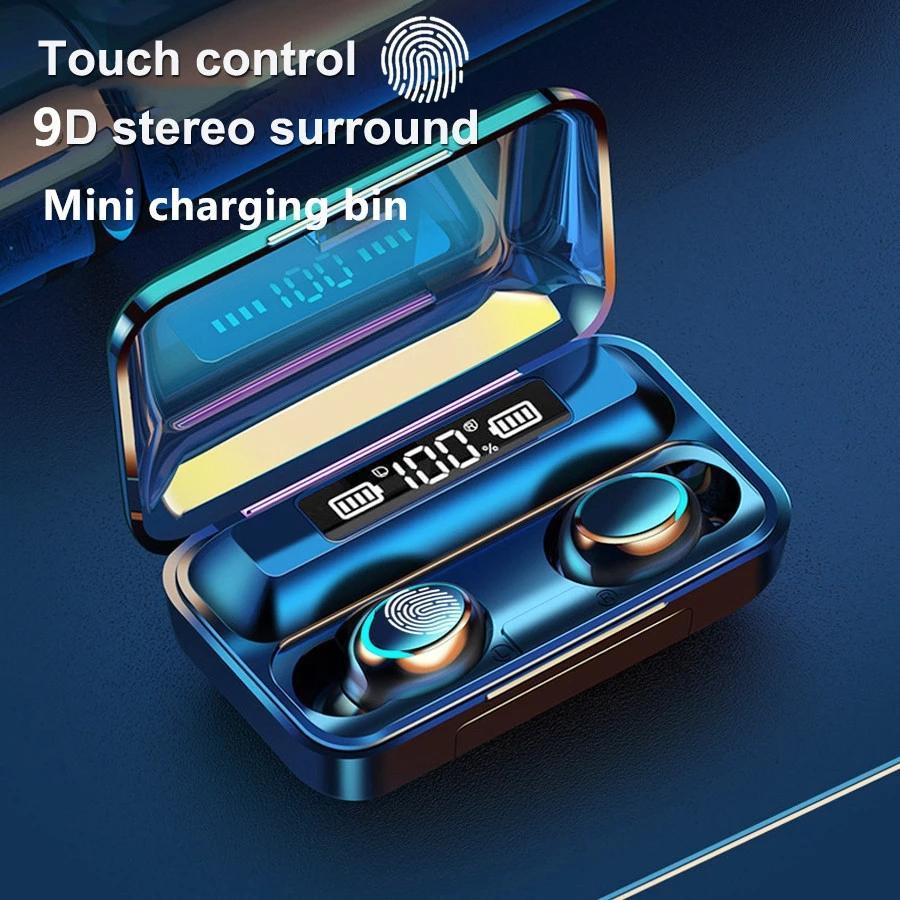 TWS Беспроводной Bluetooth 5.0 наушники 9D Bass Stereo Водонепроницаемые наушники Handsfree гарнитура отпечатков пальцев сенсорный с микрофоном зарядки