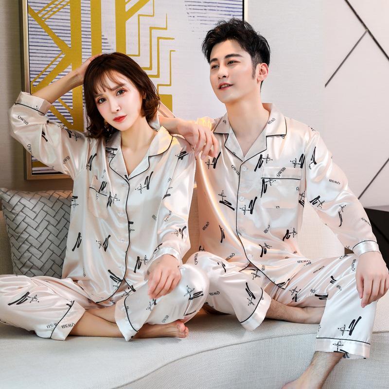 Новая ледяная шелка пара пижама моды напечатанные пижамы набор с длинными рукавами отворота домашнего сервиса Pajamas набор