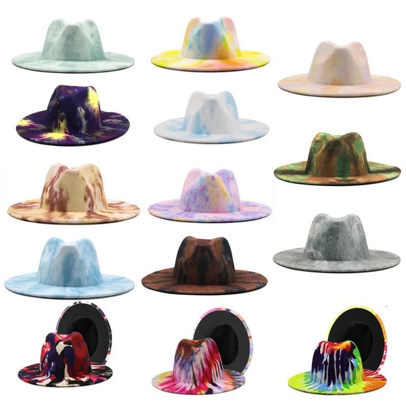 Geniş Ağız Şapkalar Kravat Boyalı Özel Stil Fedora Panama Şapka Renkli Yün Caz Erkekler Kadınlar Yün Beğendi Keçe