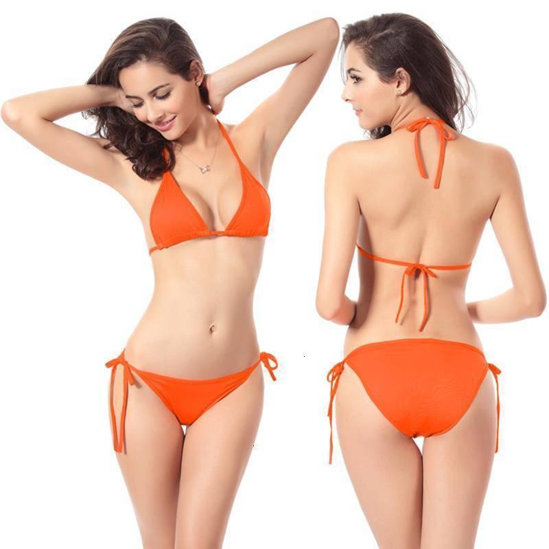 Bikini Swimsuit Mulheres Candy Color Pure Ikini Sexy Três Pontos Confortável Sling Sem Rims