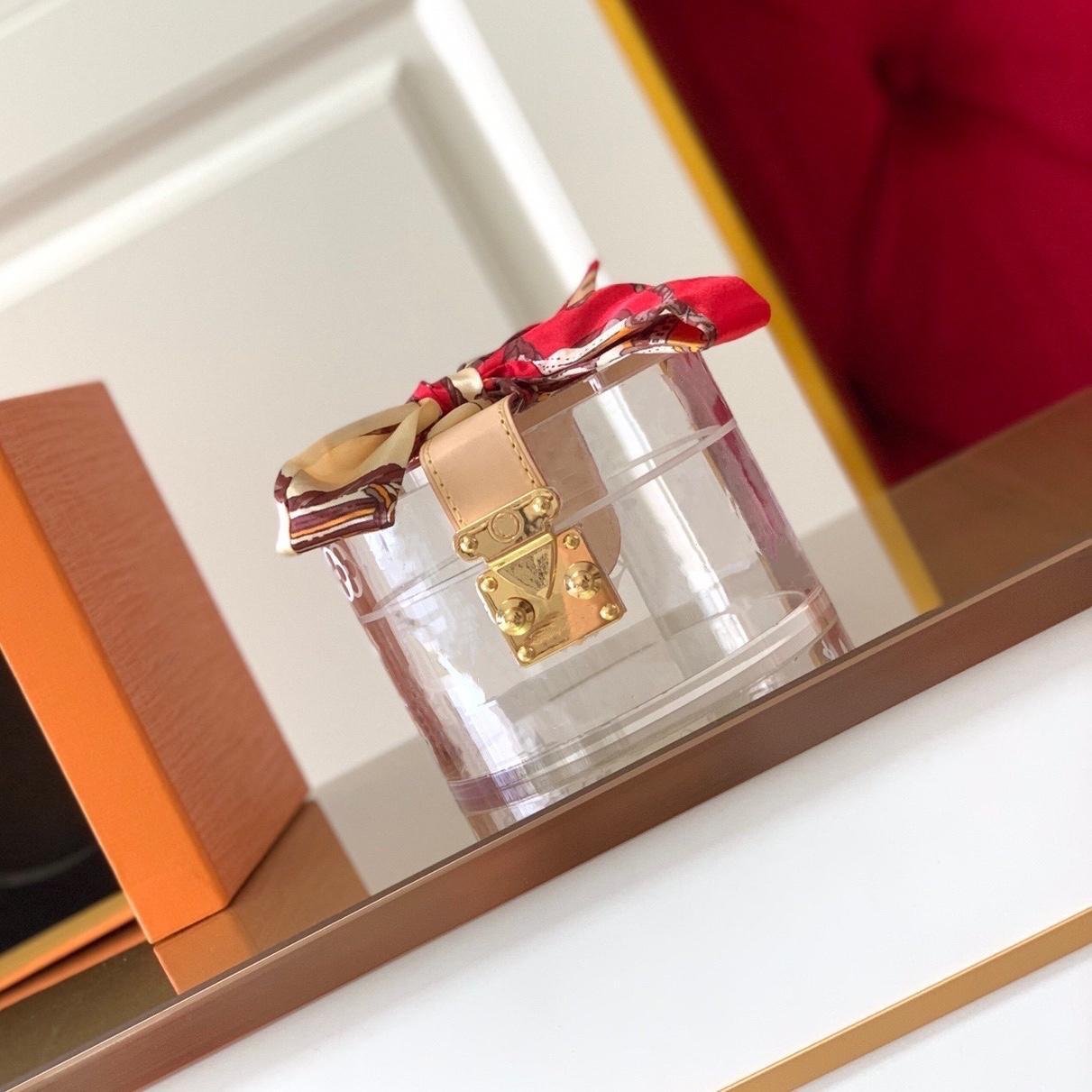 Cilindro Scott box glamours para manter a maquiagem de jóias transparente plexiglass reluzente metal decorativo caixa de molho deslumbrante noto