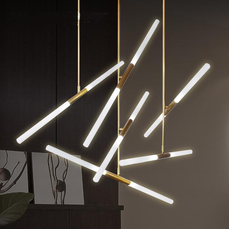 Светодиодная лестница люстра освещение для лобби виллы кухонные магазины столовые огни украшения труба люстра длинные черные золотые Chandelie