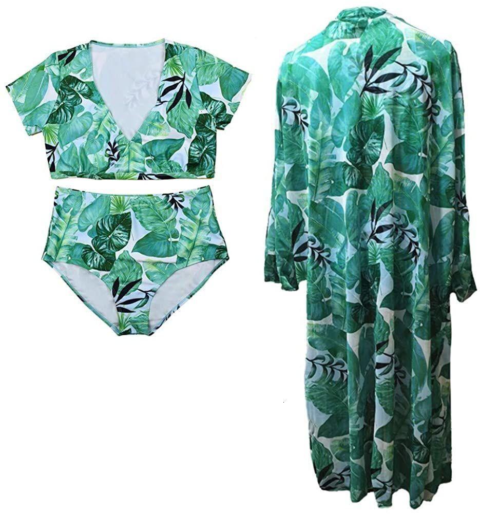 Copertina Womens Chiffon Plus con Dimensioni Due Piece Swimwear Up Stampa Costume da bagno Bikini