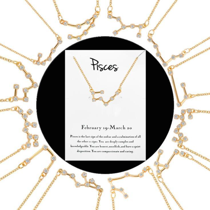 Gold 12 Constellation Zodiac Necklace Horoscope Sign Zircon Korean Jewelry Star Galaxy Libra Astrology Necklace Gift with Retail Card