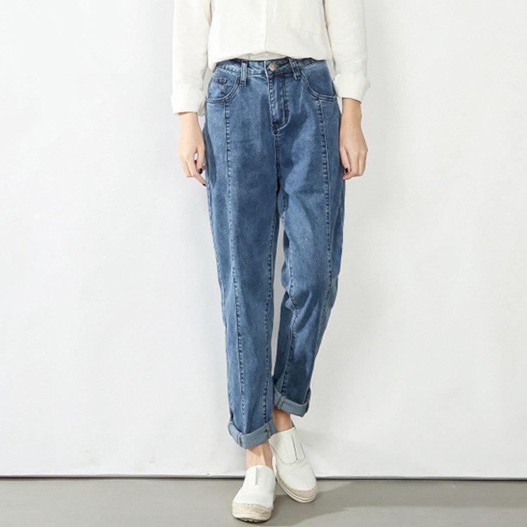 4XL 5XL Damen Freund Blau Black Jeans Mom Plus Größe Frauen Koreanische Harem Jeans Hosen Frühling Herbst Streetwear Denim Hose Q0128