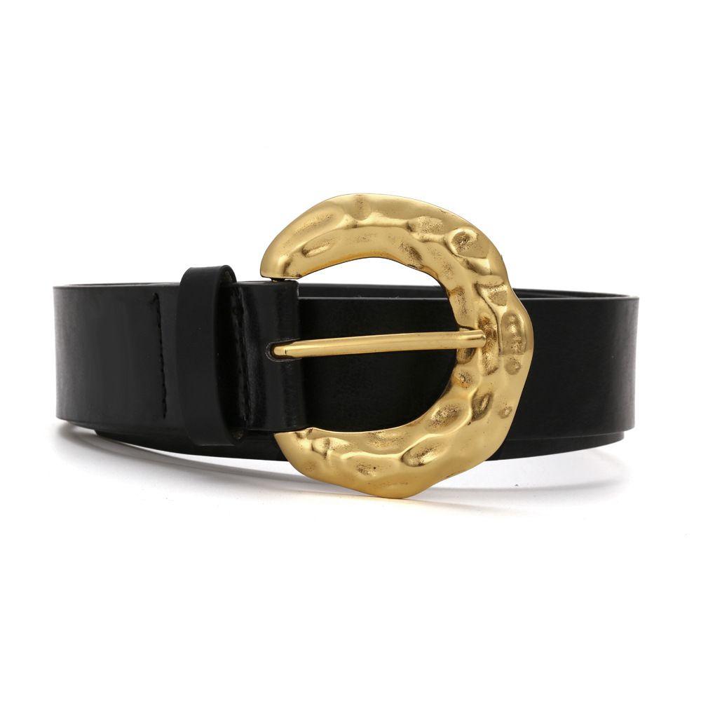 Cinturón retro de las mujeres Nuevo anillo de oro Cinturones de PU para las mujeres Pin Hebilla Metal Cintura Vestido femenino Jeans Moda Black 2020 Alta calidad