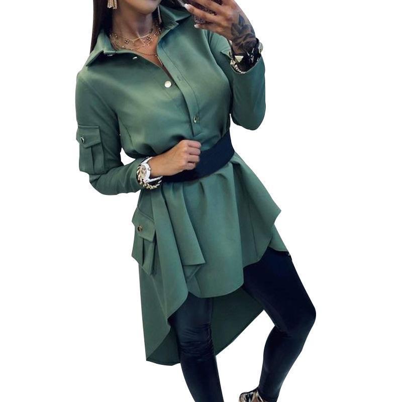 Повседневные платья бамбубоя женская весна осень моды поворотный воротник туника Нерегулярная с длинным рукавом рубашка рубашка FD138