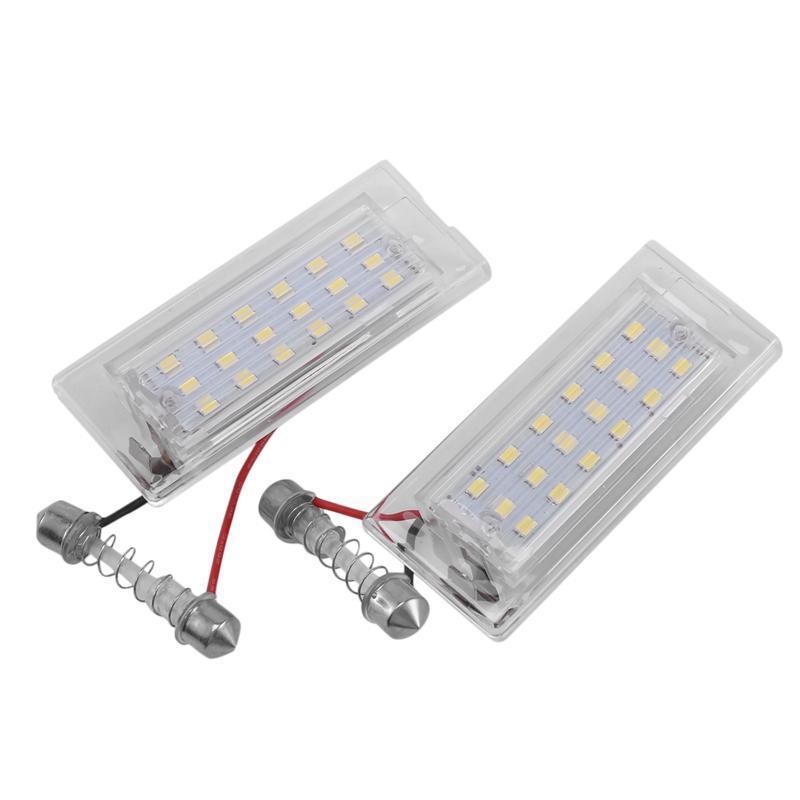أضواء Interiorexternal 2PCS أبيض LED رقم لوحة ترخيص ضوء مصباح 18 SMD 3528 ل E53 X5 1999-2003 E83 X3 03-10