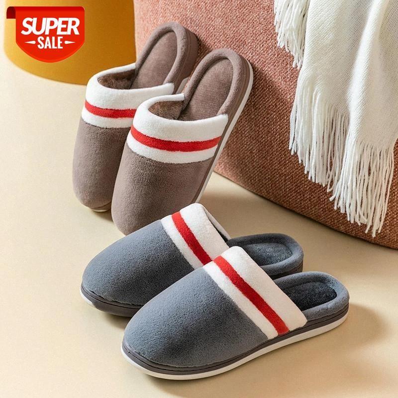 Zapatillas de algodón emparejamiento de invierno espesando antideslizante resistente a los resistentes al desgaste interior del hogar de la casa de los zapatos de la pareja de zapatillas de peluche # 9b1e