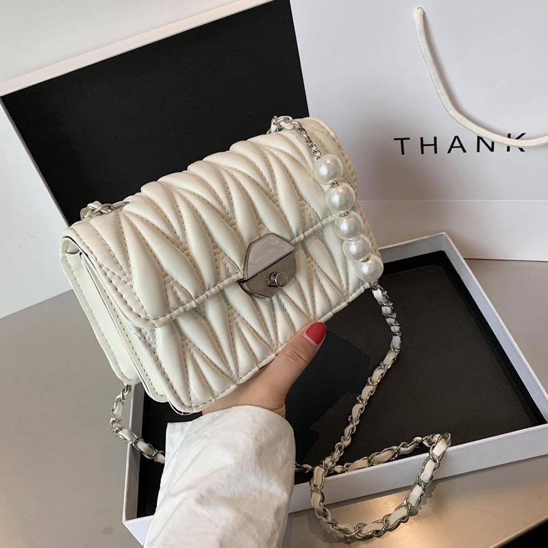 Pu-leder gefaltete Klappe Crossbody Taschen für Frauen 2021 Neue Mode Dame Umhängetaschen Luxus Design Handtaschen Messenger Bag Weiblich