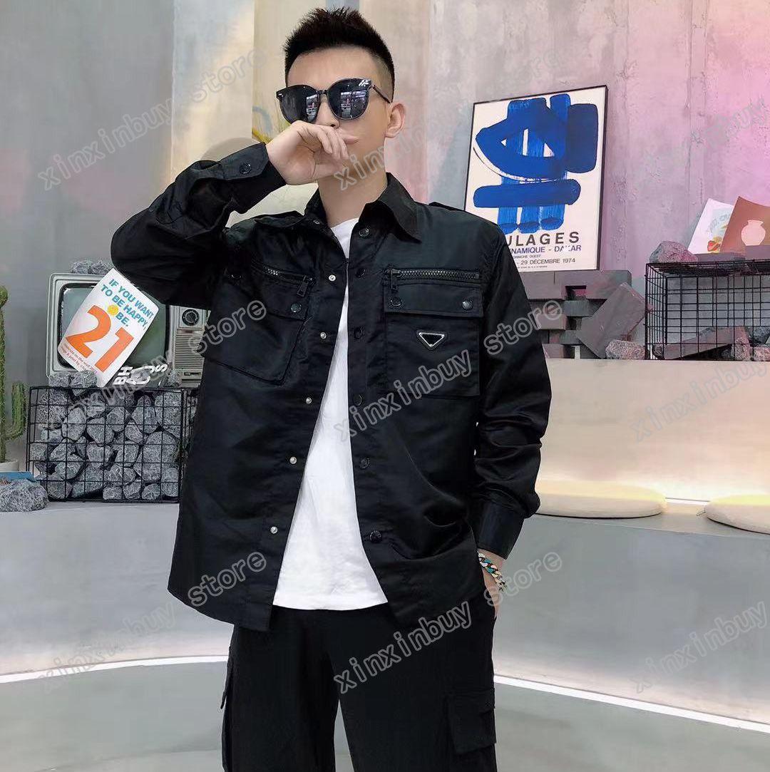 21SS uomo designer giacche giacche a vento vestiti tascabile triangolo etichetta stampa mens cappotti tuta sportiva uomo abbigliamento cotone grigio blu