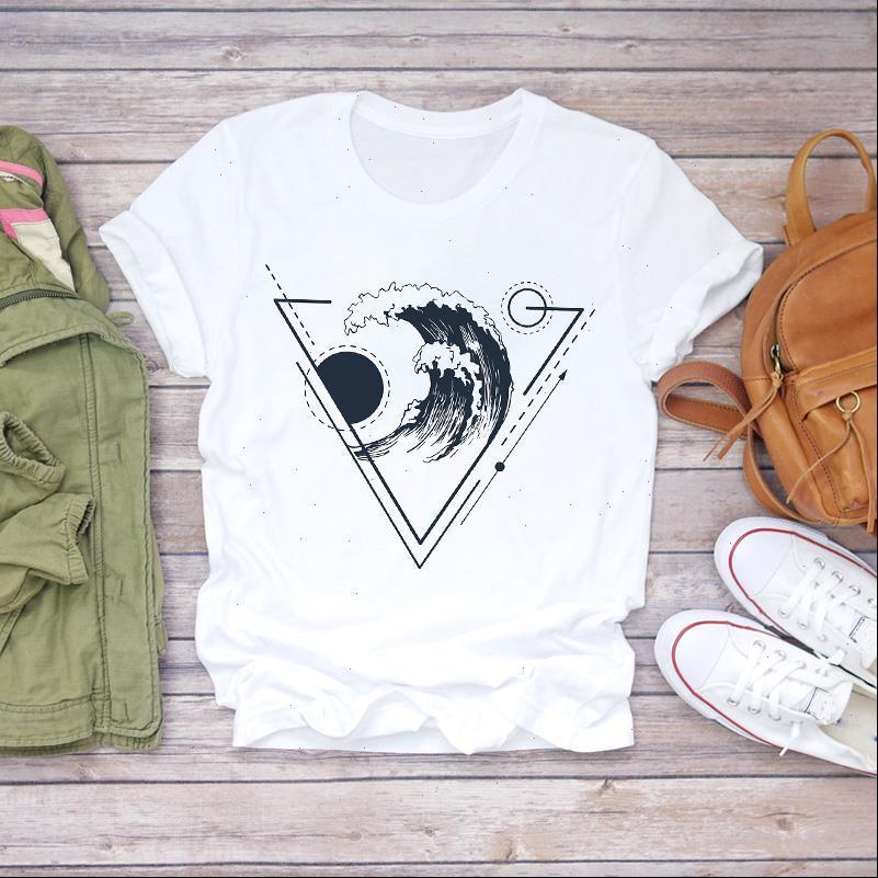 Frauen Kurzarm 90er Jahre Welle Strand Urlaub Drucken Kleidung Dame Top Womens T-shirt Damen Grafik Weibliche T-Shirt