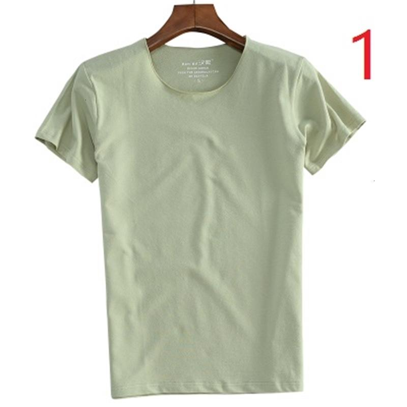 New 2021 Men's Short Slim Thin Half Sleeve Youth Couples Round Neck Simple Solid Color Cotton T-shirt 79S2