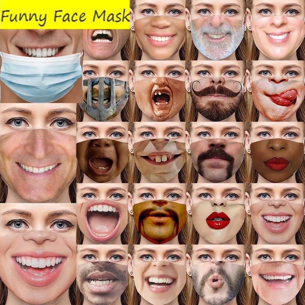 2021 Nueva cara artificial Cool Funny Adultos Pretenda de no usar una máscara Facemask Masks de algodón Fake LifeLike Special Tricky