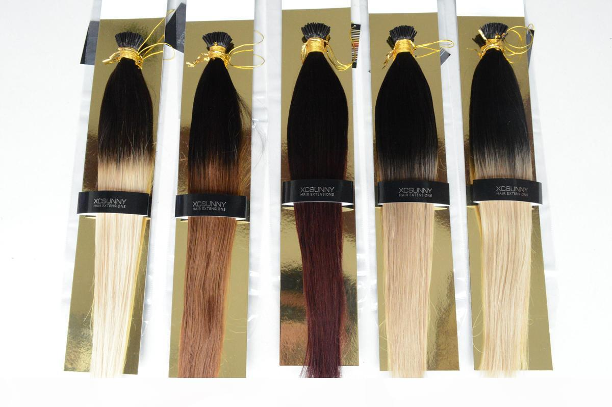 """Xcsunny 100g Hair Extensions Ombre I Tip Hair Extensions Remy Dicke 18 """"20"""" 1G S 100% indisches Remy Human Hair"""
