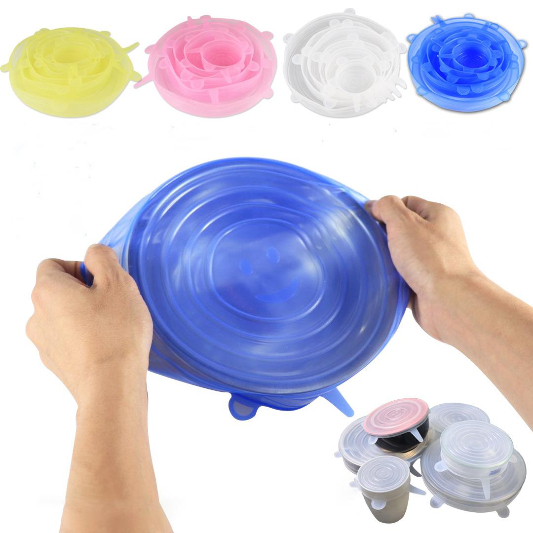 Silicone Stretch Lids Set Kitchen Food Wrap Bowl Pot Fresh Keeping Wraps Seal Cover Suction Lid Dining Accessories 6PCS Sets FHL150-YFA