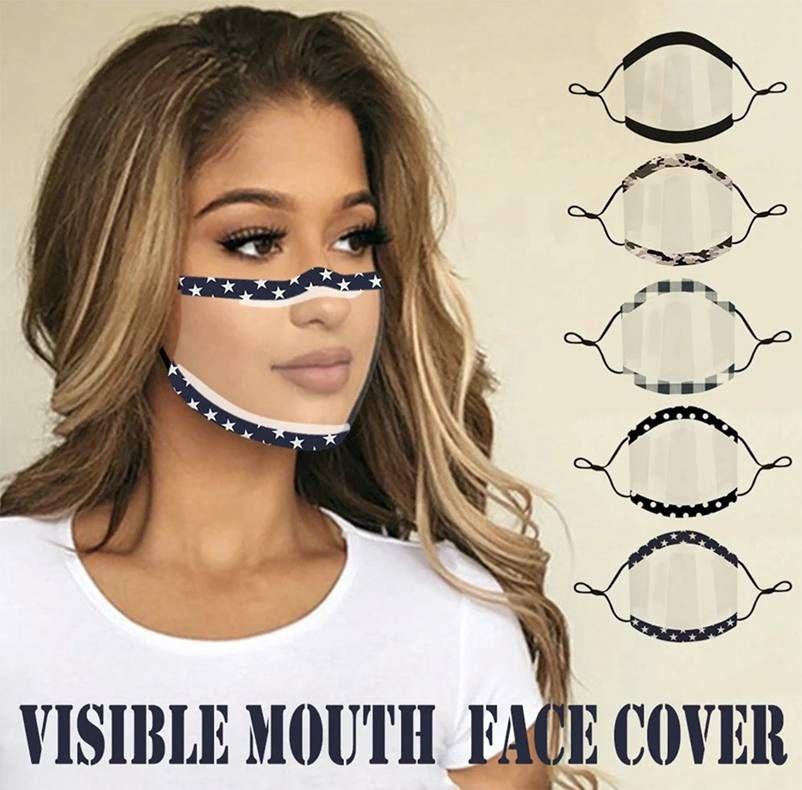 Temizle Tam Şeffaf Koruyucu Yüz Maskeleri Nefes Sağır-Sessiz Dudak Dil Maskesi Yetişkinler Için Erkekler Kadınlar WWA137