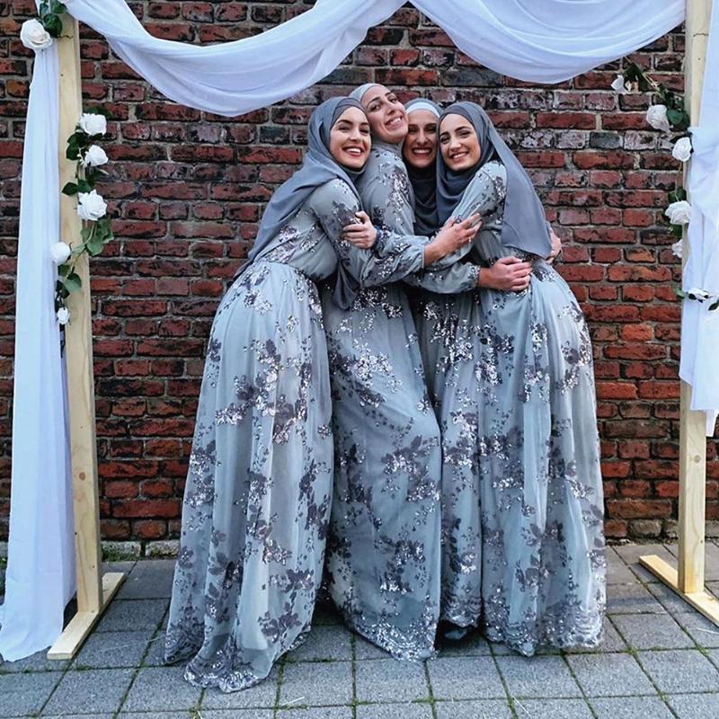 Plus Size Donne Donne Musulmani Turco Arabo Paillettes Abaya Sera Hijab Dress Kaftan Caftano Ramadan Abiti abbigliamento islamico Vestidos