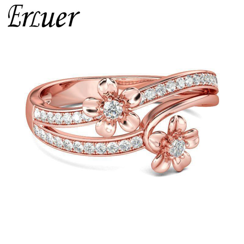Wedding Rings Delicate Cute Flower Rose Gold Color For Women Girls Austrian Crystal Zircon Classic Jewelry Fashion Gifts Ring