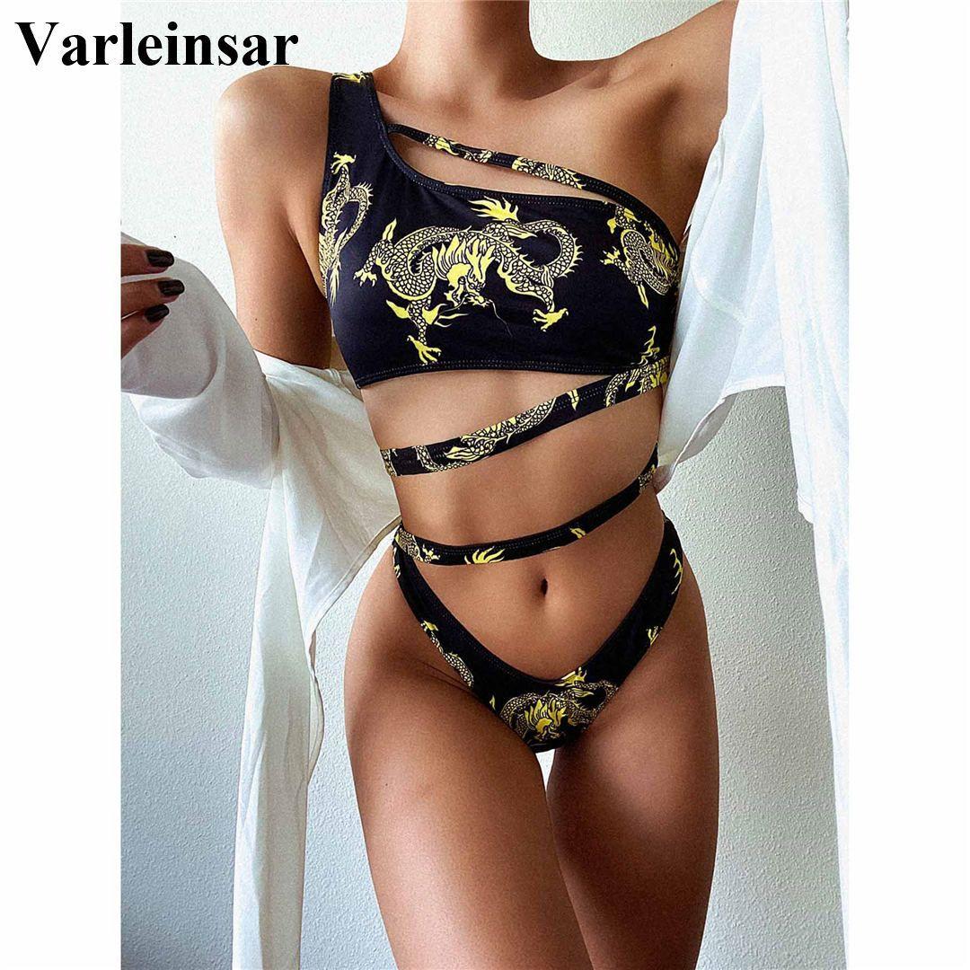 Дракон напечатанный одно плечо бикини женские купальники женщины купальники из двух частей бикини набор асимметричный купальный костюм для купания V2554 Y0222