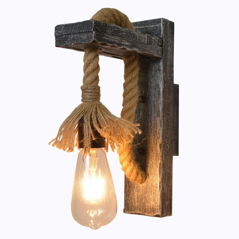Настенная лампа Деревянный сад Декоративные промышленные Открытые Огни Огни Гостиная Балкон Лампара Dormitorio AB50BD
