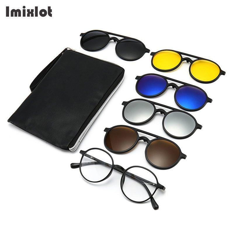 6 unids / set Vintage Redondo Polarizado Clip en gafas de sol Hombres Mujeres Clips magnéticos Gafas Eyeaglass Marco óptico Noche Visita Vidrios X0125