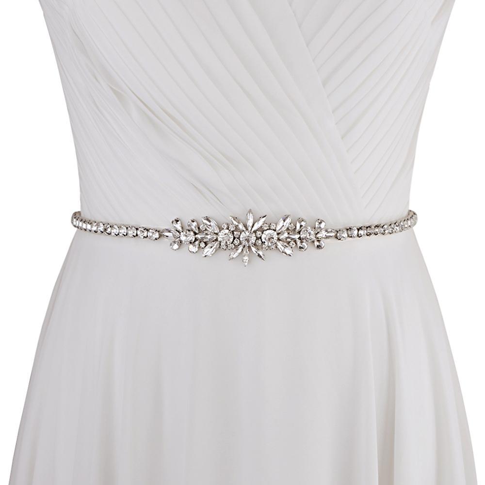 Cinto de strass de luxo de mulheres prata diamante nupcial cinto para o cinturão de casamento do vestido de casamento para vestidos de dama de honra nupcial SCS166