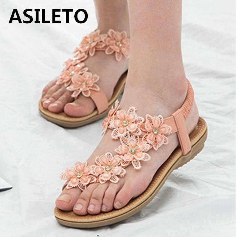 ASILETO New 2021 Women Sandals Clip Toe Flat Flower Lace Crystal Bling Stylish Soft Non-Slip Big Size 43 Casual Beach A3601