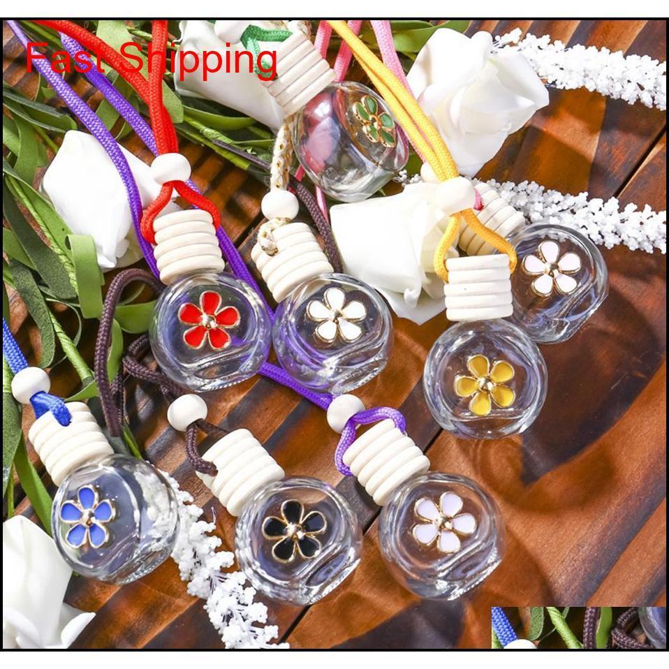 8-10ml Hanging Car Perfume Flower Bottle Fragrance Diffuser Bottle Air Freshner Glass Essential Oil Bottle Car D qylKRi new_dhbest