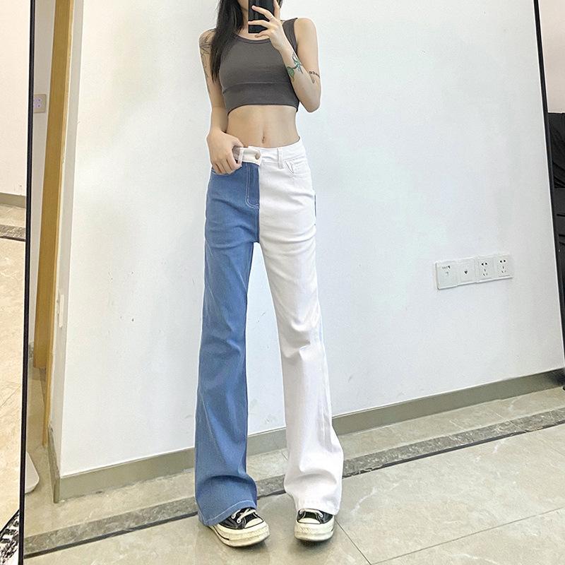 Women's Jeans 2021 Winter High Waist Patchwork Women Denim Jean Fashion Casual Wide Leg Vintage Autumn Blue Long Loose Pants