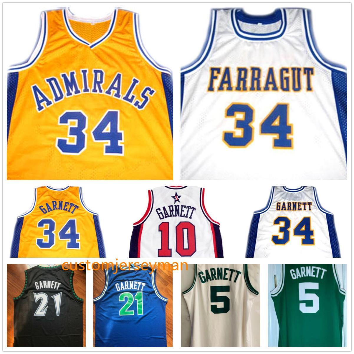 Takım ABD # 9 Kevin # 34 Garnett Jersey Amiraller Lisesi Basketbol Jersey Yeşil Erkek Dikişli Özel Yapılan Boyut S-5XL