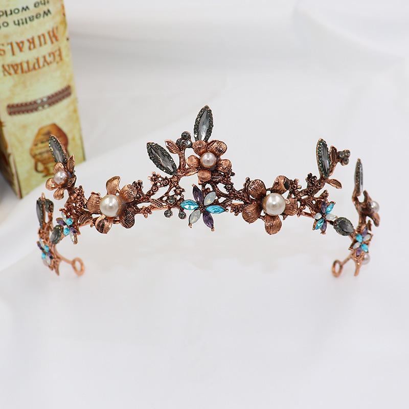 Avrupa tarzı retro gelin taç barok renk çiçek su taç düğün aksesuarları gelin headdress kafa bandı